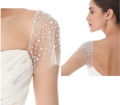 Detachable sleeves. Slightly flared tulle short sleeves embellished with rhinestones and pearls. Would be a glamorous addition to your strapless gown. Have these custom made For yourself in my online store- www.rosemarydesigns.org,  or email me direct at rosemarydesignsbride  @gmail.com