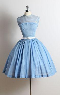 ➳ vintage 1950s dress  * light blue striped cotton * tulle lining * tulle striped bodice * detachable belt * metal back zipper * by R & K