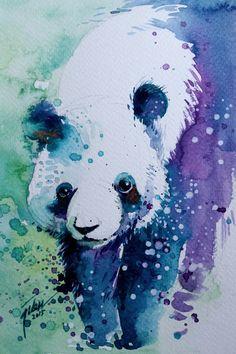 Panda Aquarell mit Gouache 133 x 20 cm Original von tilentiart
