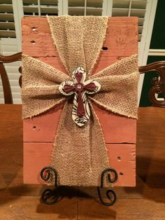 Blush Burlap Cross by SSawdustDesigns on Etsy