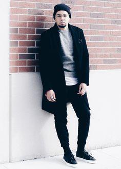 Men's Black Overcoat + Sweat Joggers  Overcoat // H&M -- Sweater // H&M -- Sweat Joggers // H&M -- Sneakers // UNNOWN
