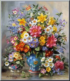 Cheap flower garden oil painting, Buy Quality painting village directly from China flower vase painting Suppliers: DIY Diamond Embroidery Flower Oil Painting Rhinestones Full Square Diamond almaznaya Cross Stitch Home Decoration Moderen Art Floral, Floral Artwork, Illustration Blume, Flowers Gif, Still Life Flowers, Floral Bouquets, Bouquet Flowers, Painting & Drawing, Flower Art