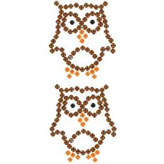 Brown Owl Gemstone Stickers