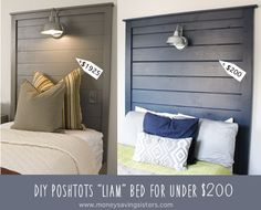 You guys….I absolutely fell in love with the Liam Headboard from PoshTots the second I saw it on Apartment Therapy, but at a price tag of $1925…I knew that I would NEVER pay that amount for a stinking headbard…so I went to work…jk…I put my husband, Pete to work and we came out with a…