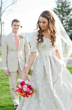 modest wedding dress - real bride Logan, Utah