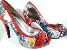 Awesome Comic Book Shoes! -  -The Avengers-Star Was-Batman-XMen, etc.-Wonder Woman-Costume Party-Christmas. $75.00, via Etsy.