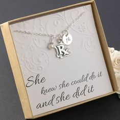 RX Pharmacist Necklace, Pharmacy technician, Prescription, Medical necklace - Sterling Silver Initial Charm, Pearl or Birthstone (Pharmacy Tech Gifts) Pharmacy Gifts, Pharmacy School, Pharmacy Cake, Pharmacy Humor, Pharmacy Technician, Compass Necklace, College Gifts, Necklace Display, Thing 1