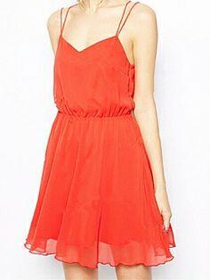 Orange Red V Neck Backless Crossed Tie-back Strap Chiffon Dress
