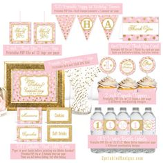 """Girl 1st First Birthday Party Decorations - Printable Pink Gold Glitter Food Tents Banner Cupcake Toppers Favor Labels Tags - """"Cotton Candy"""""""