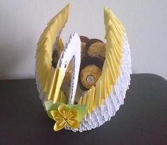 Beautiful Origami Yellow and White Swan includes, Ferrero Rocher Chocolates