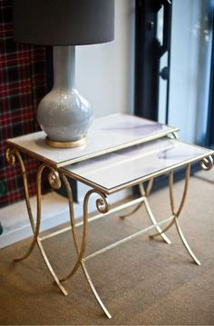 Charmant Mesa Nido Color Dorado Cristal Papel Acuarela Hierro | Iron Trundle Table  Gold Colored, Aquarelle