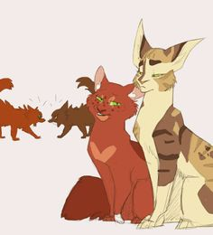 """Squirrelflight and Tawnypelt. """"We have mouse brains for mates."""" """"And I'm related to yours. Can't catch a break, huh."""" """"Wanna go hunting?"""" """"Yes."""""""