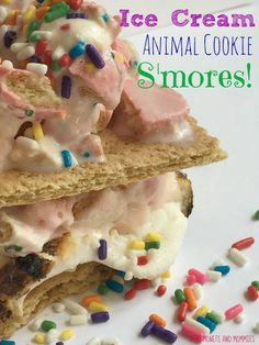 Ice cream frosted animal cookie s'mores! Easy summer-time kids' recipe for a carnival or circus themed party.