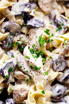 Delicious and Easy to Make: The Slow Cooker Stroganoff Chicken Recipe. - chicken stroganoff dish with cream and mushroom sauce served with pasta and parsley - Slow Cooker Chicken Mushroom, Slow Cooker Chicken Stroganoff, Ground Beef Stroganoff, Mushroom Stroganoff, Chicken Cooker, Mushroom Sauce, Mushroom Recipes, Slow Cooker Huhn, Slow Cooker Recipes