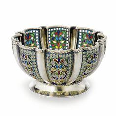 russian silver and plique-à-jour enamel small bowl, khlebnikov, moscow, circa 1910