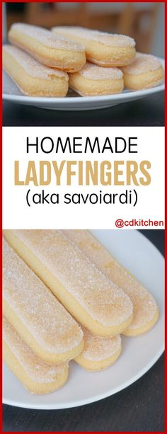 Ladyfingers - Ladyfingers are a small, delicate sponge cake biscuit used in desserts such as tiramisu. They are also known as savoiardi, biscotti di Savoia, or sponge fingers. In the US they can be hard to find in your average grocery stores but they Mini Desserts, Small Desserts, Just Desserts, Italian Desserts, Finger Desserts, Lady Finger Biscuit, Lady Finger Cookie Recipe, Baking Recipes, Cookie Recipes