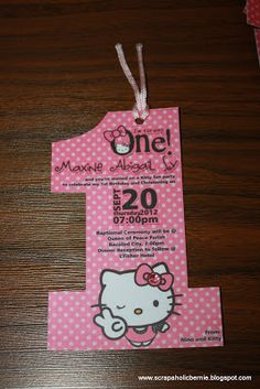 Hello Kitty Party: Number Shape and like OMG! get some yourself some pawtastic adorable cat apparel! Hello Kitty Invitation Card, Hello Kitty Birthday Invitations, Hello Kitty Theme Party, Hello Kitty Themes, Printable Birthday Invitations, Invites, Piñata Hello Kitty, Happy 1st Birthdays, Cat Party