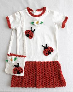 Turn a plain knit shirt into an adorable dress using the Ladybug T-Shirt Dress and Purse crochet pattern. All you need is cotton knit shirt, long or short sleeve or turtle neck. All the crochet stitches go directly into the edges of the shirt, so there is virtually no sewing involved. The transformation of shirt into a delightful crochet dress will simply amaze you. Plain knit shirts are low cost to purchase, making this a fun and economical project. If your child put a stain