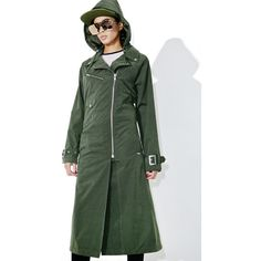 Obey Easy Rider Trench Coat ($100) ❤ liked on Polyvore featuring outerwear, coats, hooded trench coats, trench coats, drape coat, hooded coat and water resistant coat