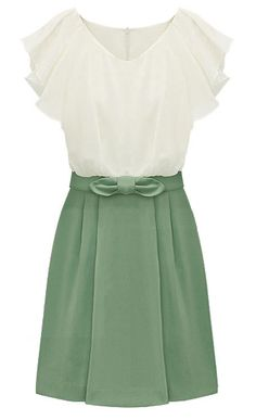 Green Short Sleeve Zipper Bow Chiffon Dress