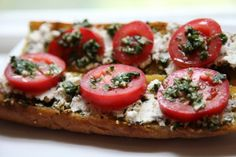 Goat Cheese, Basil and Tomato Baguette Sandwiches | The Afternoon Off