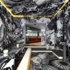 French sushi restaurant covered in Japanese tattoo art