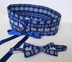Tanja.L / čičmiansky set: široký dámsky opasok a pánsky motýlik (Modrá) Pin Up, Handmade, Bags, Accessories, Fashion, Handbags, Moda, Hand Made, Fashion Styles