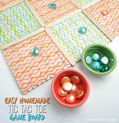 Tic Tac Toe homemade game board for kids