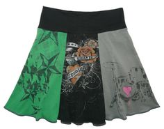 Teen Rocker Hippie Skirt Girls 12 14 16 or Women XS Small upcycled tshirt clothing from Twinkle