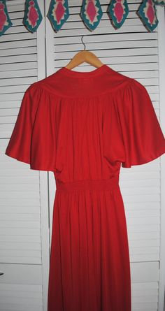 Vintage women's red dress bat sleeves gathered by Lilacwinevintage, $20.00