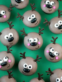 I thought it was time to cute up some cupcakes, so I made merry mini reindeers for you. Chocolate covered chocolate cupcakes all dressed up for the holidays. Oh deer! So cute. To get started, we're go