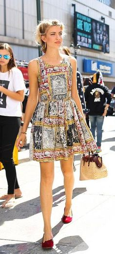 A short graphic dress with a basket bag and Charlotte Olympia shoes