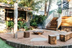 No need to head out when you have a bar and fire pit in the backyard 👊🏼 Image of our Heathcote project shot by Outdoor Rooms, Outdoor Living, Outdoor Decor, Outdoor Pergola, Outdoor Ideas, Back Gardens, Outdoor Gardens, Rustic Gardens, Fresco