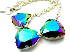 Oil Slick Heart Crystal Necklace  Rainbow Coated by pinkavenger