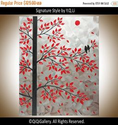 Birds on tree branch Acrylic painting wall art wall by QiQiGallery