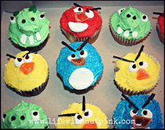 Very cute and creative Angry Birds cupcakes!