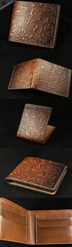 Handmade leather brown custom short wallet Cashew flowers carved for m…
