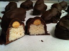 Homemade almond joys: I'm thinking that you could replace the powdered sugar with a healthier sweetener and have a pretty kick-ass little treat...not to eat every day, but something to help those PMS chocolate days.