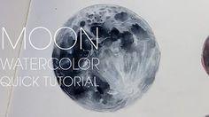 tutorial watercolor moon - YouTube