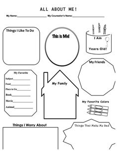 This is a work sheet I designed for when I have a first therapy session with a child. It allows for me build rapport, get to know the basics, and to explore a couple in-depth items, such as fears and worries. Hope you enjoy and find this useful!: