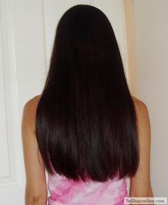 "Awesome 11-12"" (28-30cm) Naturally Shiny Straight Black Virgin Half Asian Hair"