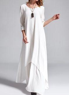 Polyester Pevný 3/4 rukáv Maxi Neformálny Šaty