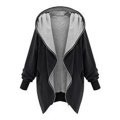 Black Oversized Zip-Up Hoodie Lookbook Store ($34) ❤ liked on Polyvore featuring tops, hoodies, jackets, sweaters, outerwear, hoodie top, oversized tops, zip up tops, black top and black zip up hoodie