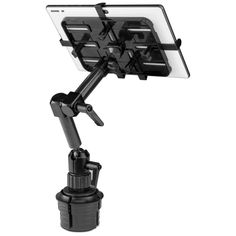 """You or your passengers can view and interact with your tablet comfortably with the Mount-It Carbon Fiber Cup Holder Tablet Mount. This sleek carbon fiber arm can hold most tablets from 7"""" to 11"""", with locking knobs at each joint to keep your device from slipping or shifting out of place. This mount can be placed into center consoles and fits cupholders to allow you or your passengers to view your tablet with ease.  Compatible with 10.2"""" iPad 7, 9.7"""" iPad, iPad Air, iPad Mini, Galaxy Tab, Amazon Tablet Gps, Fire Tablet, Tablet Stand, Ipad Mount, Tablet Mount, Vehicle Laptop Mount, Iveco Daily 4x4, Truck Accessories, Phone Holder"""