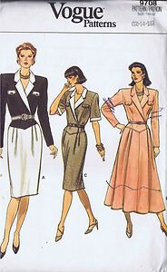 Vogue Pattern  Pattern Number 9708  Copyright: Modern    Misses Dress Pattern    Dress, below mid-knee or lower calf, has notched collar, slightly extended shoulders, shoulder pads, semi-fitted, shaped front bodice, flap with button trim, tapered or flared skirt with front pleats, side zipper and above elbow sleeves with bands or long sleeves.  A or C contrast.  Purchased belt.