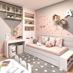 Want to Present the Greatest Girl& Bedroom for Your Daughter? The girls bedroom is her castle. Now getting time to talk a strategy to come up with the wonderful room theme. Here are the girl's bedroom ideas for you. Bedroom Wall Colors, Bedroom Themes, Girls Bedroom Colors, Bedroom Styles, Girl Bedroom Designs, Design Bedroom, Wall Design, Teenage Room Designs, Girls Room Design