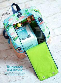 Rucksack KlapPack (Eine Nähanleitung mit Schnittmuster für 2 Größen von shesmile) Ideal für den Kindergarten oder die perfekte Tasche und Aufbewahrung für die Toniebox oder Tonies für unterwegs. Im Urlaub oder auf Reisen.