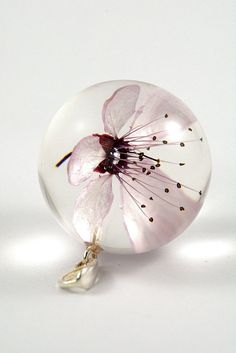 Pink Cherry Flower Pendant Pink Resin Pendant Real Flower
