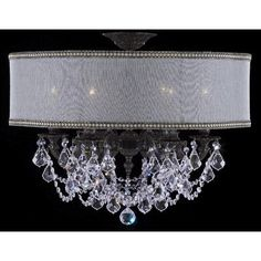 ABC Lighting Llydia 6 Light Outdoor Semi-Flush Mount Finish: Antique Black Glossy, Crystal: Precision Crystal Oval Clear, Shade Color: White Hardback