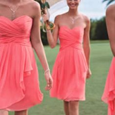 Cheap A-line Coral Knee Length Chiffon Bridesmaid Dresses, short bridesmaid dress, Short Coral Prom Dresses, wedding party dresses Love these.This is the color of the dresses I would like.but could go more casual of a style! Dress To Party, Wedding Party Dresses, Stunning Wedding Dresses, Party Gowns, Prom Party, Cute Bridesmaid Dresses, Wedding Bridesmaids, Coral Bridesmaids, Prom Dresses